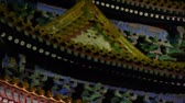 battlements : Gorgeous palace.Panoramic of Beijing Forbidden City turret in night.the Great Wall brick battlements. Stock Footage