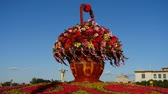parterre : gorgeous baskets full of flowers in blue sky.Beijing Tiananmen Square sunny.
