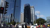 intersection : business building district in Beijing,busy traffic & crowded,traffic light.