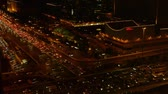 intersection : aerial night view of traffic pollution in an urban city,China. Stock Footage