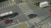 commute : Aerial view of crosswalk & overpass traffic at an urban city,zebra crossing. Stock Footage