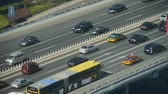 intersection : Aerial view of overpass traffic in city.