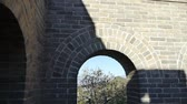 battlements : view Great wall from battlements lookouts,China ancient defense engineering. Stock Footage