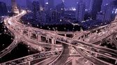 yanan : Aerial View of freeway busy city rush hour heavy traffic jam highway,shanghai Yanan East Road Overpass interchange,Timelapse of driving & cars racing by with streaking lights trail at night with super long exposures for each frame.