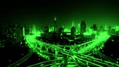 yanan : time lapse,Aerial View of freeway busy city rush hour heavy traffic jam highway,shanghai Yanan East Road Overpass interchange,driving racing by with streaking lights trail with super long exposures.