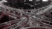 yanan : Aerial View of freeway busy city rush hour heavy traffic jam highway,shanghai Yanan East Road Overpass interchange,driving racing by with streaking lights trail ,time lapse.