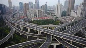 yanan : Aerial View of freeway busy city rush hour heavy traffic jam highway,shanghai Yanan East Road Overpass interchange,time lapse.