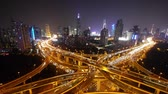 yanan : Aerial View of freeway busy city rush hour heavy traffic jam highway,shanghai Yanan East Road Overpass interchange,driving racing by with streaking lights trail with super long exposures. Stok Video