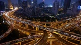 yanan : Aerial View of freeway busy city rush hour heavy traffic jam highway at night,shanghai Yanan East Road Overpass interchange. Stok Video