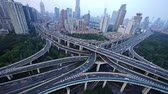 yanan : heavy traffic on highway interchange,Aerial View of Shanghai Skyline.z1 x2 c3=Aerial View of freeway busy city rush hour heavy traffic jam highway,shanghai Yanan East Road Overpass interchange,urban building.