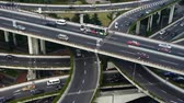 yanan : time lapse,Aerial View of freeway busy city rush hour heavy traffic jam highway,shanghai Yanan East Road Overpass interchange. Stok Video