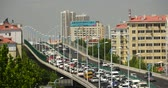 área de trabalho : Modern urban city busy traffic jams on overpass,highway street  business houses building.transportation travel road. Stock Footage
