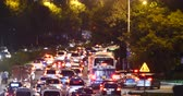 roof : Modern urban city busy traffic jams night,highway street congestion building. Stock Footage