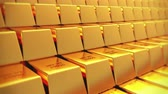 color : Gold bullion gold bars treasury wealth Ingot luxury finance goods trading,3D animation of stacked gold bars.