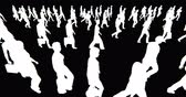 striding : Crowd Of People walking,white businessman silhouette in black background. Stock Footage