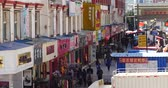peddler : The busy resident crowd walking on the market in Shangri-La street,china. Stock Footage