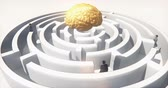 questões : golden brain above the maze,many businessmen standing in the labyrinth,artificial intelligence.