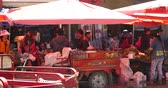 peddler : 4k Large busy farmers market in Shangri-La yunnan china.