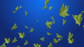 стиль жизни : 4k Abstract 3d maple plant leaves autumn tree space particle design romance wind blowing art background.
