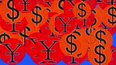 custo : 4k Float USA dollars China RMB money wealth symbol,exchange rate background. Stock Footage