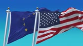 democrático : 4k Seamless Usa United States of America And European Union EU Flags with blue sky background.