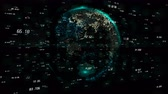 estatístico : 4k digital data globe,a scientific tech data network surrounding planet earth conveying connectivity,complexity and data flood of digital age.Business Data wall,Financial figures.network numbers.
