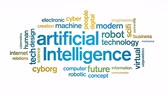 human machine interface : 4k Artificial Intelligence Animated Tag AI Word Cloud,Text Design Animation.