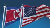4k Seamless United States of America And North Korea Flags with blue sky background,A fully digital rendering,The flag 3D animation loops at 20 seconds Wideo