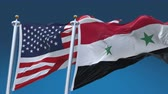 4k Seamless United States of America And Syria Flags with blue sky background,A fully digital rendering,The flag 3D animation loops at 20 seconds