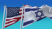 4k Seamless United States of America And Israel Flags with blue sky background,A fully digital rendering,The flag 3D animation loops at 20 seconds Wideo