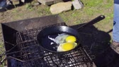 sunny side up : eggs cooked on a frying pan in the backyard