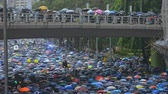 vecht : Hongkong, China - August 2019: Hongkong protesters gather for demonstration against face mask ban during heavy rain, using umbrellas for protection. china conflict demoracy concept. waiting on bridge above