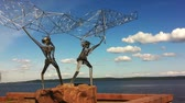 modernism : Fishermen monument on a quay in Petrozavodsk, Russia Stock Footage