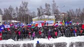independence : PETROZAVODSK, RUSSIA, MARCH 16, 2014: Russian people protest against war in Crimea and support democracy in Crimea. Today Crimea votes in referendum on whether to rejoin Russia or stay with Ukraine.