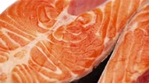 macro : Fresh Raw Salmon Red Fish Steak