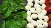 базилик : Ingredients for caprese salad - Mozzarella, tomatoes, basil leaves Стоковые видеозаписи