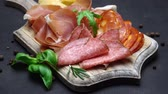 salsicha : Video of italian meat plate - sliced prosciutto, sausage and cheese Stock Footage