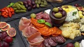 dorblu : various type of italian meal or snack - cheese, sausage, olives and parma