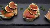dry cured : Bruschetta with ham, blue ceese and fresh figs