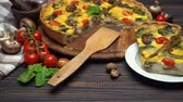 Traditional french Baked homemade quiche pie on wooden board