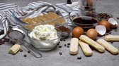 colador : Ingredients for making traditional italian cake tiramisu on concrete table