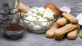치즈 케이크 : Ingredients for cooking tiramisu - Savoiardi biscuit cookies, mascarpone, cream, sugar, cocoa 무비클립