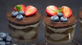 Classic tiramisu dessert with blueberries and strawberries on stone serving board on concrete Filmati Stock