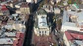 Aerial view of Lviv opera and balet theatre in Lviv old city center. Ukraine, Europe Filmati Stock