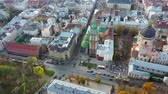 Aerial video of Uspinska Church in central part of old city of Lviv, Ukraine