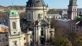 Aerial video of Dominican Church in central part of old city of Lviv, Ukraine