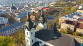 Aerial video of Saint Mikhail Church in in central part of old city of Lviv, Ukraine Filmati Stock