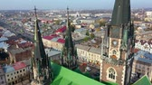Aerial video of Saint Olga and Elizaveta Church in central part of old city of Lviv, Ukraine