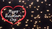 mama : Animation Text Happy Valentine's Day in red heart with golden heart bokeh background. Wideo