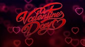 caligrafia : Animation red Text Valentine Day with red bokeh background. Stock Footage
